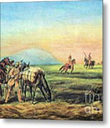 Frontiersmen And Native American Metal Print