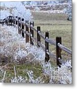 Frosted Fence Metal Print