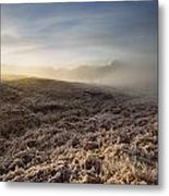 Frosted Fields And Misty Valley Metal Print