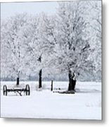 Frosty Morning On Old Wagon Wheels Metal Print