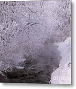 Frosty Trees And Creek Metal Print