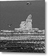 Frozen Lighthouse B W Metal Print