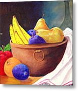 Fruit Bowl By Candle Metal Print by Janna Columbus