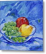 Fruit On Blue Metal Print