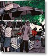 Fruit Vendor Brooklyn Nyc Metal Print