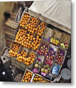 Fruit Vendor In The Kahn Metal Print by Mary Machare