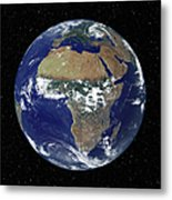 Full Earth Showing Africa And Europe Metal Print