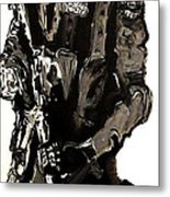 Full Length Figure Portrait Of Swat Team Leader Alpha Chicago Police In Full Uniform With War Gun Metal Print by M Zimmerman MendyZ