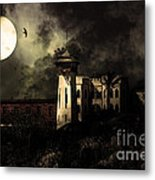 Full Moon Over Hard Time - San Quentin California State Prison - 7d18546 - Partial Sepia Metal Print