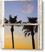 Full Moon Palm Tree Picture Window Sunset Metal Print