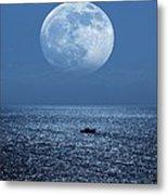 Full Moon Rising Over The Sea Metal Print