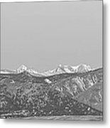 Full Moon Setting Over The Co Rocky Mountains Bw Metal Print