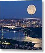 Full Moonrise Over Vancouver, British Metal Print