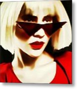 Funky Red Glasses Metal Print