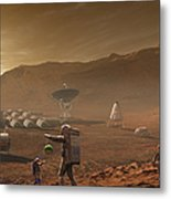 Future Mars Colonists Playing Metal Print