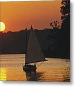 Gaff-rigged Catboat Sails Metal Print