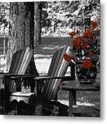 Garden Chairs With Red Flowers In A Pot Metal Print