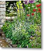 Garden Flowers With Stream Metal Print