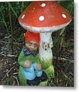 Garden Gnome Under Mushroom Metal Print