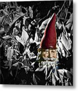 Garden Gnome With Gray Background Metal Print