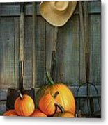 Garden Tools In Shed With Pumpkins Metal Print