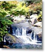 Garden Waterfall With Koi Pond Metal Print
