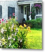 Garden With Coneflowers And Lilies Metal Print