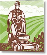 Gardener Landscaper Riding Lawn Mower Retro Metal Print