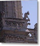 Gargoyles At Notre Dame Cathedral Metal Print