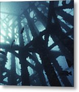 Gas Platform Support Tower Metal Print by Peter Scoones