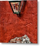 Gaslight On A Red Wall Metal Print
