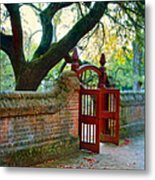 Gate In Brick Wall Metal Print
