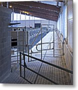 Gated Railing In A Cowshed Metal Print