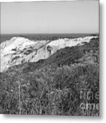 Gay Head Lighthouse With Aquinna Beach Cliffs - Black And White Metal Print