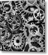 Gears Of Time Black And White Metal Print