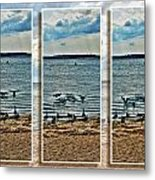 Geese Point Landing Triptych Metal Print