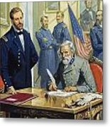 General Ulysses Grant Accepting The Surrender Of General Lee At Appomattox  Metal Print by Severino Baraldi