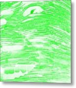 Gentle Giant In Negative Light Green Metal Print
