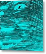 Gentle Giant In Negative Turquois Metal Print