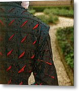 Gentleman In 16th Century Clothing On Garden Path Metal Print