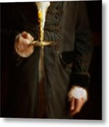 Gentleman In Vintage Clothing Holding A Candlestick Metal Print