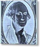 George Washington In Negative Cyan Metal Print