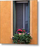 Geraniums In A Yellow Window In Treviso Italy Metal Print