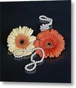 Gerberas With Pearls Metal Print