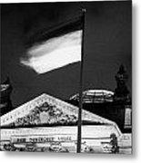 german flag flying fluttering on flagpole outside reichstag building Berlin Germany Metal Print by Joe Fox