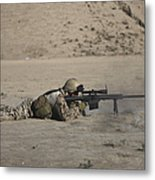 German Soldier Firing A Barrett M82a1 Metal Print