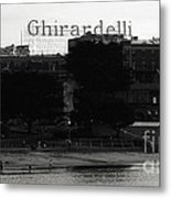 Ghirardelli Square In Black And White Metal Print by Linda Woods