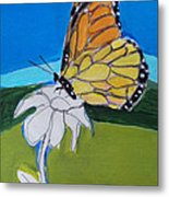 Ghost Flower And Butterfly Metal Print