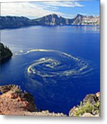 Giant Swirl Of Pollen At Crater Lake National Park  Metal Print