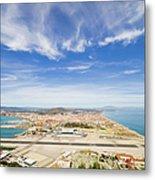 Gibraltar Airport Runway And La Linea Town Metal Print